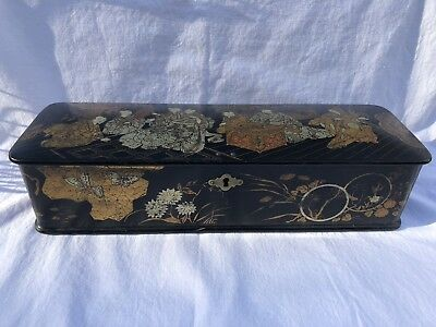 Antique Black Lacquer Gold Gilt Painted Chinese Box