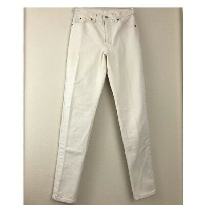 Vintage Calvin Klein Jeans Women 4 Ivory USA Made Tapered High Rise 100% Cotton