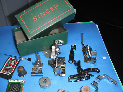 Singer Vintage Sewing Machine Attachments lot 48675 with box featherweight