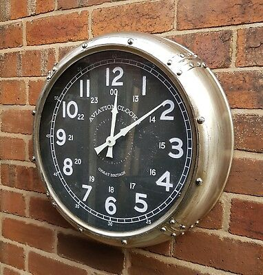 Large 50cm WALL CLOCK metal industrial aviation style wall mounted