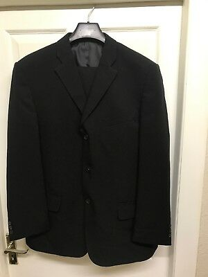 """Vintage Woolworths Mens 2 Piece Suit Black Polyester 46""""chest  38""""W"""