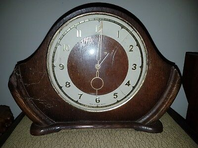 old art deco wood and bakelite electric smiths english clocks mantle clock