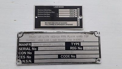 Military Land Rover Defender Chassis Plates