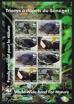 SALE Togo WWF Senegal Flapshell Turtle Imperforated Sheetlet of 8v MNH FREE