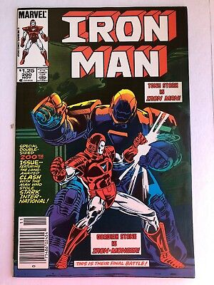IRON MAN #200 Newsstand Iron Monger 1st Appearance Red/White Armor VF/NM