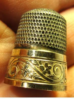 Vtg Simons Bros Sterling Silver w/ Flower & Scrolls Gold Band Thimble Hallmarked