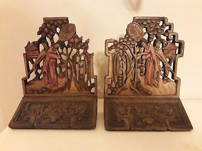Chinese Qing Dynasty Wooden bookends- 19th century. Polychrome