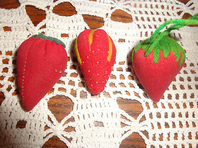 3 Early Small STRAWBERRY PIN CUSHION Sewing Collection Vintage Fruit