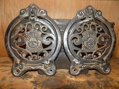 """2 Favorite Stoves and Ranges Piqua OH cast iron ornate cookstove hinged lid 6"""""""