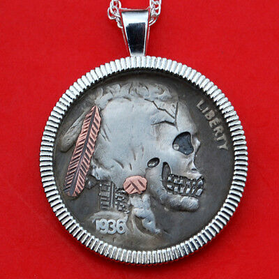 1936 Carved Skull Face Zombie Hobo Buffalo Nickel Coin Sterling Silver Necklace