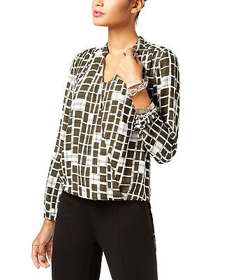 Alfani Women's Green Block Grid Printed Surplice Work Tunic Top Size 10 & 16 $69