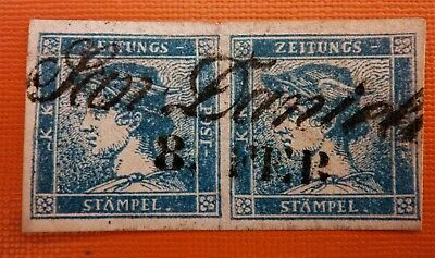 """Italy Old States Lombardo Veneto Couple of Two Newspapers stamps"""" Mercurio"""" Used"""