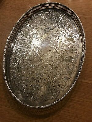 Vintage Oval Silver Tray 1.5kgs