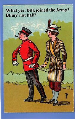 Vintage Postcard Woman Asking Man What Yer Bill Joined The Army Blimy Not Half