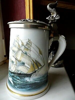 Limoges  Krug mit Fischgriff, Limited edition  GREYHOUNDS of the SEA