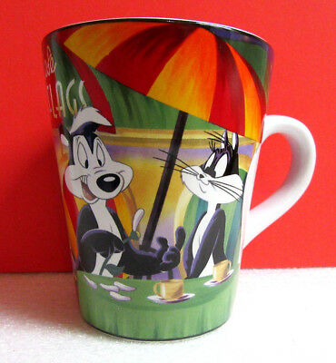 Six Flags Cafe Looney Tunes PEPE LE PEW Skunk & Penelope the Cat Cup Mug