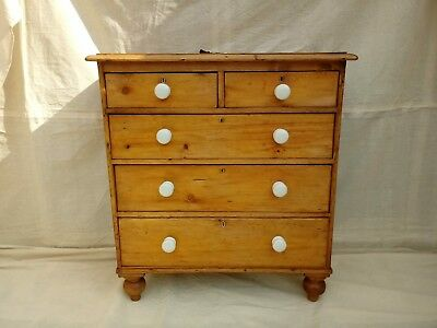 vintage victorian stripped pine chest of drawers CERAMIC/POT KNOBS.BUN FEET&KEY!