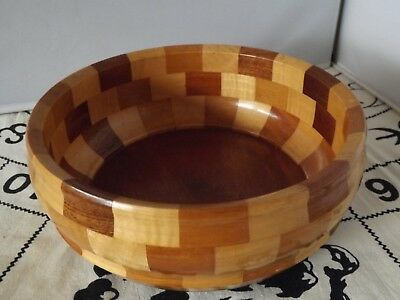 Vintage Cambridge Ware Patchwork Wooden The Grantchester Bowl Made in England