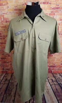 Dickies Royal Rangers Mens L Uniform Shirt w/ Patches Khaki Color Florida S/S