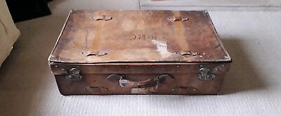 1920s/30s Antique Leather Suitcase with Labels. Gospert Southern Railway