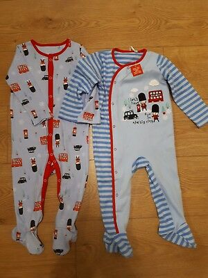 94a910be9a81 2 X TU 9-12 MONTH SLEEPSUITS BABYGROW BLUE NEW + TAGS LONDON GUARD ...