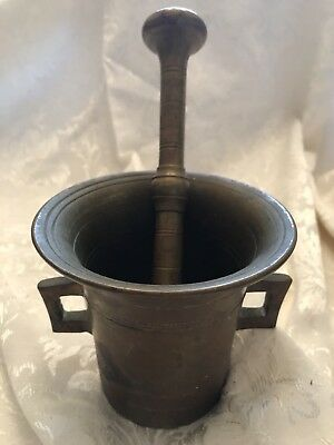 "Antique Solid Brass Mortar and Pestle - Apothecary 4"" tall"