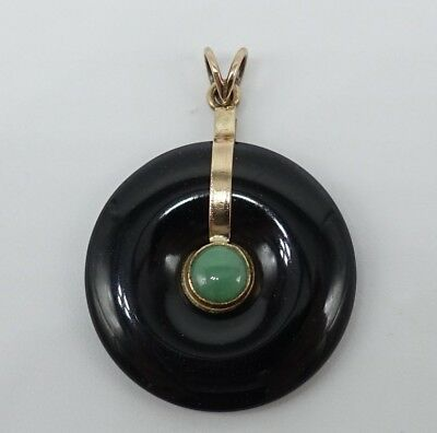 VTG Solid 14K Gold Black Green Nephrite Jade Pendant Chinese Bi Pi Disc circle