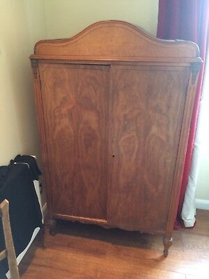 Small Vintage Walnut Gentleman's Wardrobe.