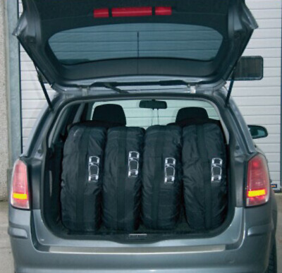 """4x 13-19"""" Hide Black Car Spare Wheel Tyre Tire Cover Protect Storage Bag Guard"""