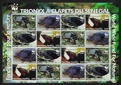 SALE Togo WWF Senegal Flapshell Turtle Imperforated Sheetlet of 4 sets MNH FREE