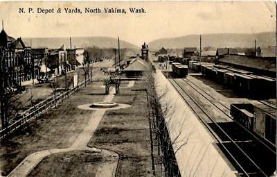 North Yakima, Washington - The N.P. Railroad Depot and Yards - in 1911