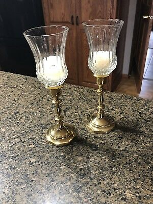 HOME INTERIORS / VOTIVE CUPS - 2 CLEAR CAMBRIDGE CUPS With Brass Candle Sticks