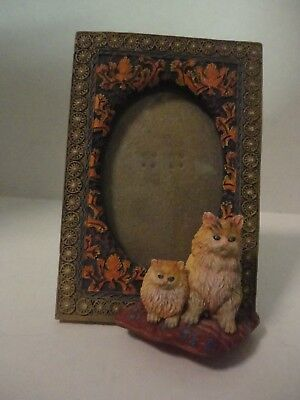 Cat Picture Frame 4 1/4 x 2 7/8 inches, hand painted.