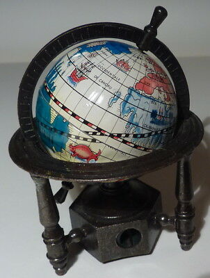 """vintage miniature spinning globe with antique finished zinc alloy 3"""" high"""