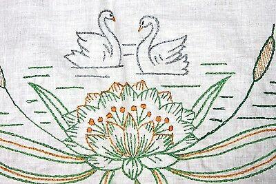 "VINTAGE Hand-Embroidered Dresser Scarf Runner, Swans Lotus Grn Ylw, 39"" Long EUC"