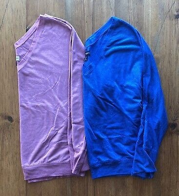 Lot of 2 American Eagle Outfitters V-Neck Knit Shirt Women's XL Pink and Purple