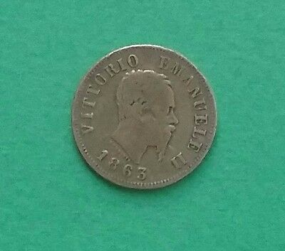 Italy 1863 M 50 Centimes Silver Coin