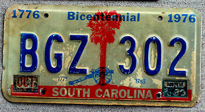 1980 South Carolina Bicentennial License Plate with Cannon in Front of Palm Tree