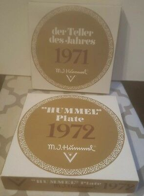 1971 & 1972 M.J. Hummel Annual Plates of the Year Goebel Germany. 1st Ed W/Boxes