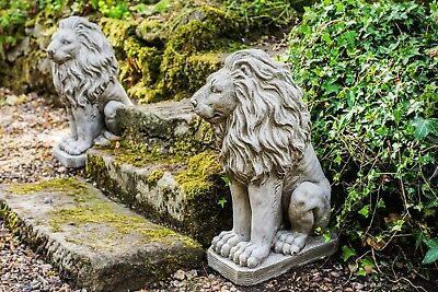 Pair of Sitting Lions Heavy Stone Cast Garden Ornament Statues Inc Delivery