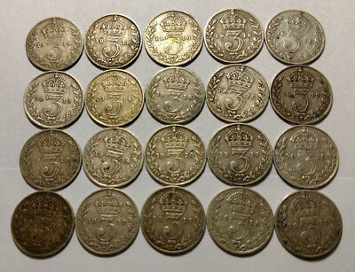 Lot of 20 Silver Coins from Great Britain 1911-1920 3-Pence Coins!