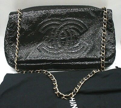 715665cc685f CHANEL ROCK AND Chain Accordion Flap Bag Patent Vinyl Small ...