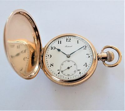 1920's Gold Filled 15 Jewelled Federal Swiss Full Hunter Pocket Watch Working
