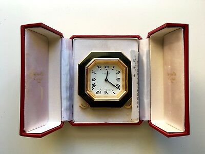 Vintage Authentic CARTIER Enamel Gold Alarm Bedside Clock Box