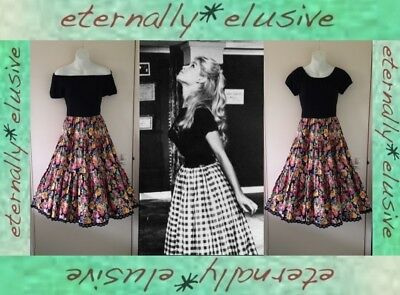 Vintage 70s 50s Flower Print Gypsy Tiered Flare Skirt Dress Festival Size UK 6 8