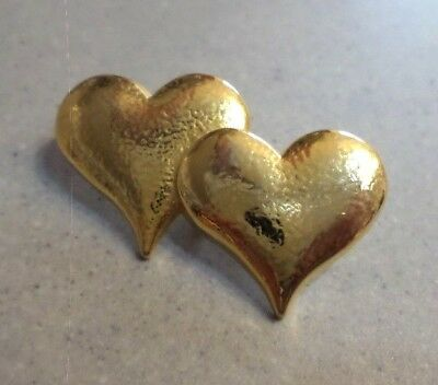 Pin's DOUBLE COEUR doré massif / YARDLEY of LONDON / HEART GOLD / Bijoux