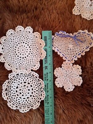 Vintage Doilies 7 Lot Hearts Circles White Little Heart With Blue Ribbon