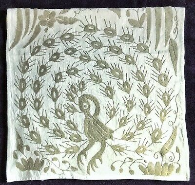"taupe grey on white hand embroidered otomi wall hanging 74x17"" new and gorgeous"
