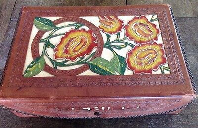 Vintage Old Mexican Tooled & Carved Leather Jewelry Trinket Box. Floral Design