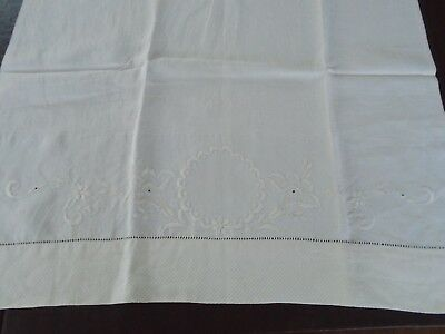 """Antique Linen Handmade and Had Embroidered large Towel 42"""" x 20.5"""""""